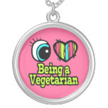 Bright Eye Heart I Love Being a Vegetarian Round Pendant Necklace