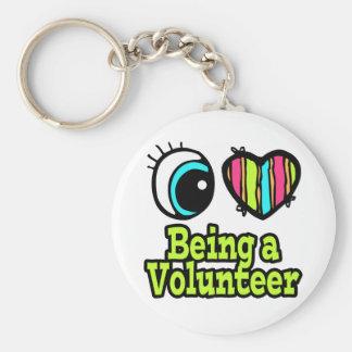 Bright Eye Heart I Love Being a Volunteer Keychain