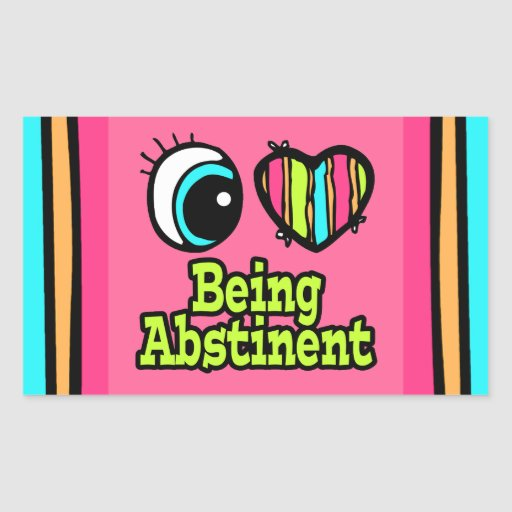 Bright Eye Heart I Love Being Abstinent Rectangle Stickers