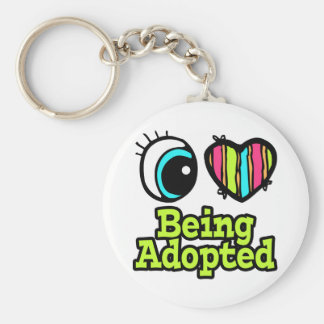 Bright Eye Heart I Love Being Adopted Basic Round Button Keychain