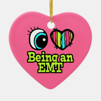 Bright Eye Heart I Love Being an EMT Double-Sided Heart Ceramic Christmas Ornament