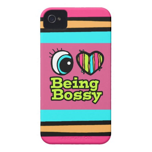 Bright Eye Heart I Love Being Bossy iPhone 4 Case