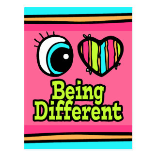 Bright Eye Heart I Love Being Different Postcard