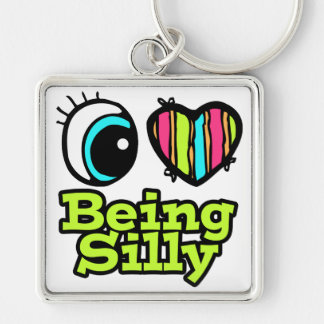 Bright Eye Heart I Love Being Silly Silver-Colored Square Keychain