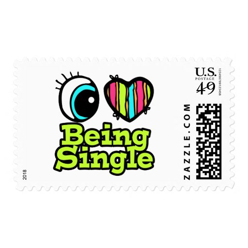Bright Eye Heart I Love Being Single Stamps
