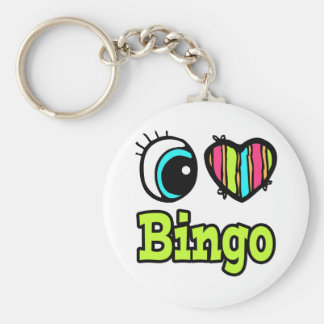 Bright Eye Heart I Love Bingo Basic Round Button Keychain