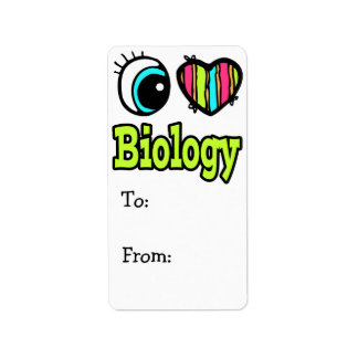 Bright Eye Heart I Love Biology Label