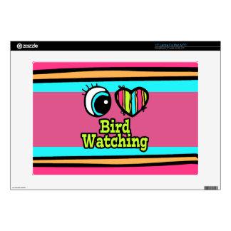 "Bright Eye Heart I Love Bird Watching 15"" Laptop Skin"