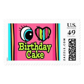 Bright Eye Heart I Love Birthday Cake Postage Stamp