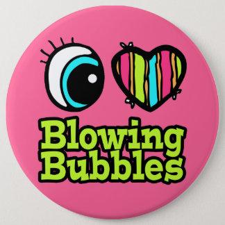 Bright Eye Heart I Love Blowing Bubbles Pinback Button