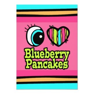 Bright Eye Heart I Love Blueberry Pancakes 4.5x6.25 Paper Invitation Card