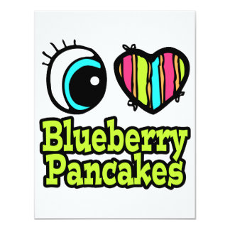 Bright Eye Heart I Love Blueberry Pancakes 4.25x5.5 Paper Invitation Card