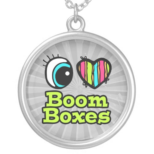 Bright Eye Heart I Love Boom Boxes Necklaces