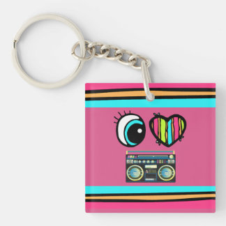 Bright Eye Heart I Love boom boxes picture Acrylic Key Chains