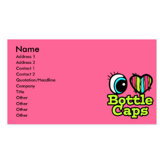 Bright Eye Heart I Love Bottle Caps Double-Sided Standard Business Cards (Pack Of 100)