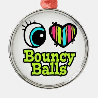 Bright Eye Heart I Love Bouncy Ball Round Metal Christmas Ornament