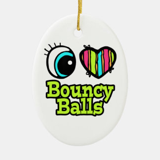 Bright Eye Heart I Love Bouncy Ball Double-Sided Oval Ceramic Christmas Ornament