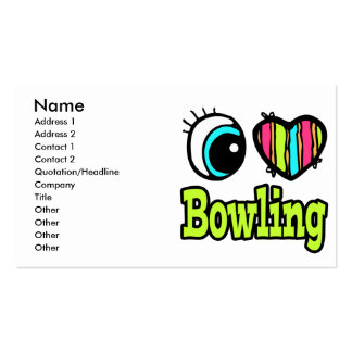 Bright Eye Heart I Love Bowling Business Cards