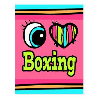 Bright Eye Heart I Love Boxing Postcard