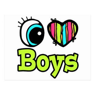 Bright Eye Heart I Love Boys Postcard