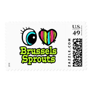 Bright Eye Heart I Love Brussels Sprouts Postage Stamp