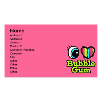 Bright Eye Heart I Love Bubble Gum Business Card