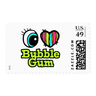 Bright Eye Heart I Love Bubble Gum Postage Stamp