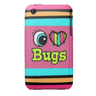 Bright Eye Heart I Love Bugs iPhone 3 Case-Mate Cases