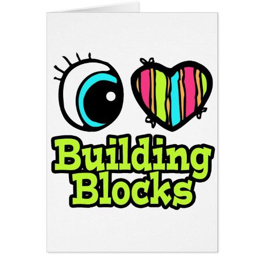 Bright Eye Heart I Love Building Blocks Card