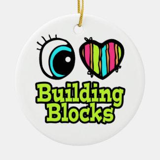 Bright Eye Heart I Love Building Blocks Double-Sided Ceramic Round Christmas Ornament