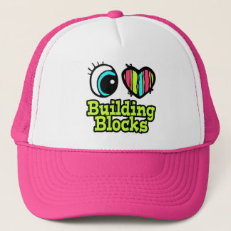 Bright Eye Heart I Love Building Blocks Trucker Hat