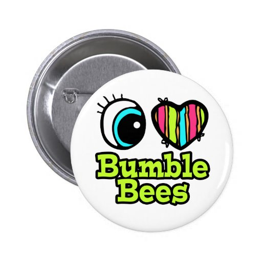Bright Eye Heart I Love Bumble Bees Button