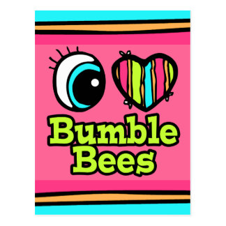 Bright Eye Heart I Love Bumble Bees Postcards