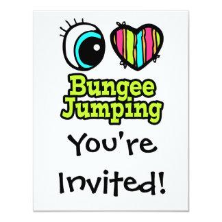 "Bright Eye Heart I Love Bungee Jumping 4.25"" X 5.5"" Invitation Card"