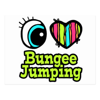 Bright Eye Heart I Love Bungee Jumping Postcard