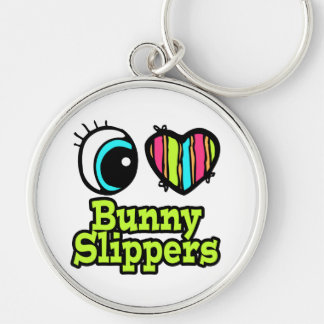 Bright Eye Heart I Love Bunny Slippers Keychain