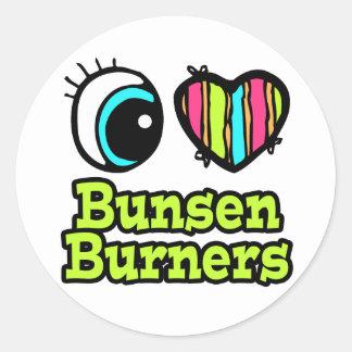 Bright Eye Heart I Love Bunsen Burners Round Sticker