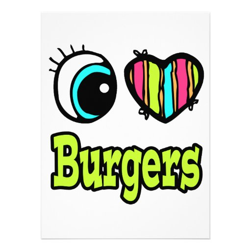 Bright Eye Heart I Love Burgers Personalized Announcement