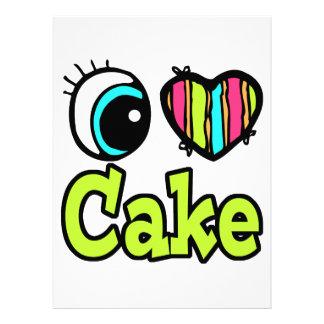 Bright Eye Heart I Love Cake Custom Invites