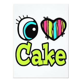 "Bright Eye Heart I Love Cake 6.5"" X 8.75"" Invitation Card"