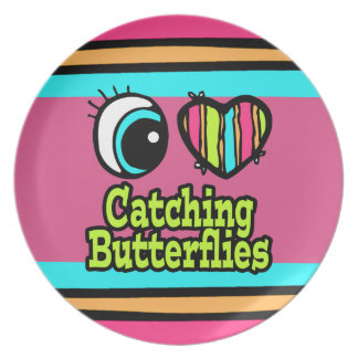 Bright Eye Heart I Love Catching Butterflies Party Plates