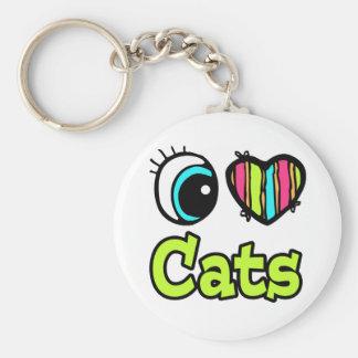 Bright Eye Heart I Love Cats Basic Round Button Keychain