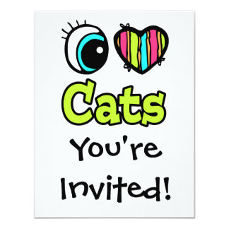 Bright Eye Heart I Love Cats Card