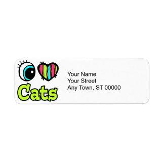 Bright Eye Heart I Love Cats Custom Return Address Labels