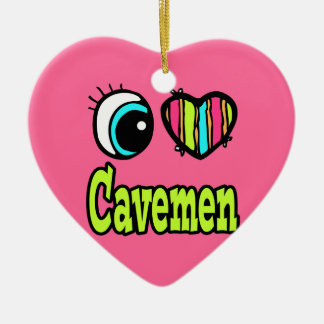 Bright Eye Heart I Love Cavemen Christmas Tree Ornaments