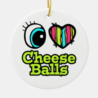 Bright Eye Heart I Love Cheese Balls Double-Sided Ceramic Round Christmas Ornament