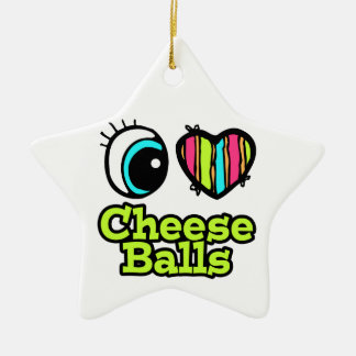 Bright Eye Heart I Love Cheese Balls Double-Sided Star Ceramic Christmas Ornament