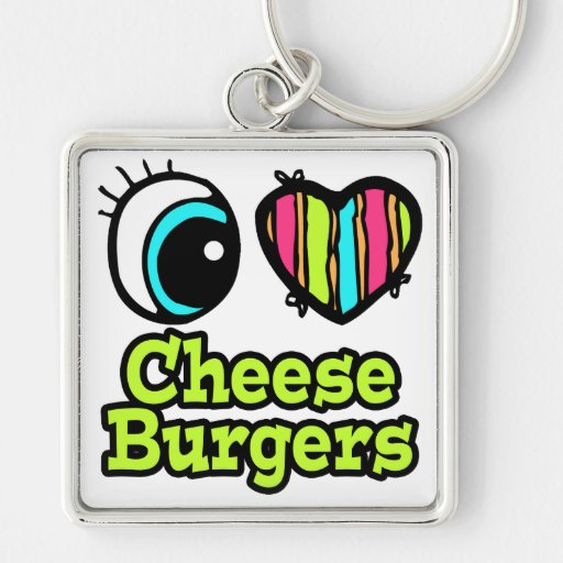 Bright Eye Heart I Love Cheeseburgers Silver-Colored Square Keychain