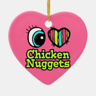 Bright Eye Heart I Love Chicken Nuggets Ceramic Ornament