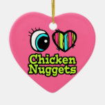 Bright Eye Heart I Love Chicken Nuggets Double-Sided Heart Ceramic Christmas Ornament